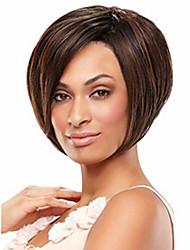 Недорогие -Парики из искусственных волос Прямой Коричневый Темно-коричневый Искусственные волосы 4 дюймовый Жен. Коричневый Парик Короткие