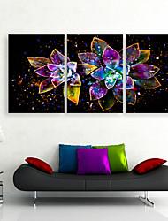 Недорогие -е-Home® растягивается во главе холст Печать на холсте, яркие цветы светодиод мигает волоконно-оптического печати Набор из 3
