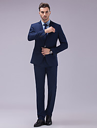 cheap -Pool Solid Colored Slim Fit Polyester Suit - Slim Notch Single Breasted Two-buttons