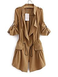 Недорогие -Для женщин На каждый день Весна Куртка Воротник Питер Пен,Простой Однотонный Обычная Длинные рукава,Не указан,Пэчворк