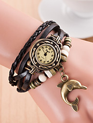 Original High Quality Women Genuine Leather Vintage Watches Bracelet Wristwatches dophin Pendant Relogio Feminino