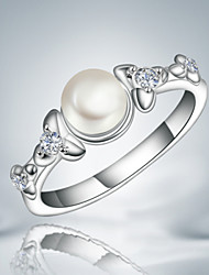 cheap -Women's Band Ring Crystal Tassel Vintage Cute Party Work Casual Fashion Pearl Sterling Silver Silver Costume Jewelry Wedding Party Daily