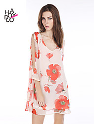 economico -haoduoyi® Women's Floral Print V-neck Dress