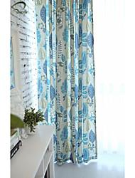 Paese curtains® un pannello tenda blu stampa floreale
