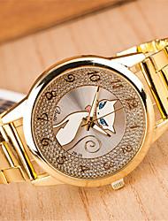 preiswerte -z.xuan Frauenstahlband Analog Quarz beiläufige Uhr