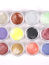 12PCS Glittery Nail Art Acrylic Paint Powder Shining Nail Sculpting Carving UV Painting Dust for Salon Nail Decorations