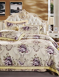 cheap -Duvet Cover Sets Floral 4 Piece Cotton Reactive Print Cotton 1pc Duvet Cover 2pcs Shams 1pc Flat Sheet