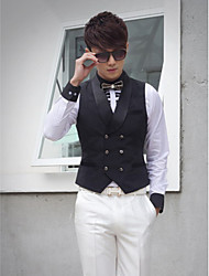 Black Cotton Tailored Fit Suit Vest