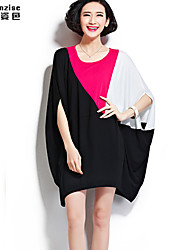 cheap -Women's Daily Dress,Color Block Above Knee Short Sleeves Cotton Spandex Summer Micro-elastic Thin
