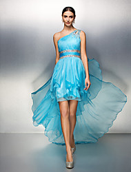 cheap -Sheath / Column One Shoulder Asymmetrical Chiffon High Low Cocktail Party Dress with Beading / Ruched by TS Couture®