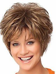 cheap -Synthetic Wig Straight / Curly Pixie Cut / With Bangs Synthetic Hair Brown Wig Women's Short Capless