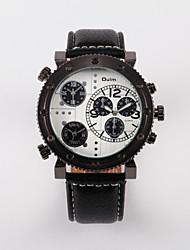 Oulm Pánské Vojenské hodinky Křemenný Hodinky s trojitým časem Kůže Kapela Černá Modrá Červená Hnědá Bílá Hnědá Červená Modrá Černá