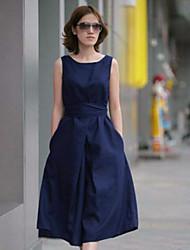 abordables -Robes (Polyester) Informel Rond à Sans manche pour Femme
