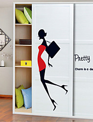 cheap -Wall Stickers Wall Decals Style Sexy Beauty Girl Miniskirt High-heeled Shoes PVC Wall Stickers