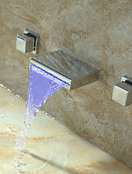 cheap -Bathroom Sink Faucet - Waterfall Thermostatic LED Chrome Wall Mounted Three Holes Two Handles Three Holes