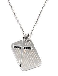 preiswerte -Vintage-Männer Silber Schrift Kreuz 316l Edelstahl Halskette