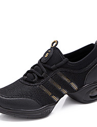 "cheap -Women's Dance Sneakers Practice Shoes Synthetic Sneaker Lace-up Low Heel Black and Red Black and Gold White 1"" - 1 3/4"" Non Customizable"