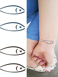 cheap -Lovely Fish Swimming with You Forever Tattoo Stickers Temporary Tattoos(1 Pc)