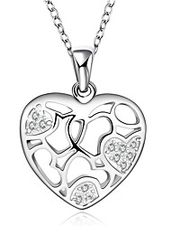 Fine Jewelry 925 Sterling Silver Jewelry Hollow Heart Pendant Necklace for Women