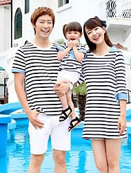 Kortærmet Sommer Familie tøj sæt Medium Mikroelastisk Bomuld