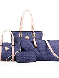 baratos -Mulheres Bolsas PU Tote / Bolsa de Ombro / Conjuntos de saco 5 Pcs Purse Set Marron / Azul / Rosa claro / Conjuntos de sacolas