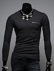 economico -MEN - T-shirt - Informale Scollo a V - Maniche lunghe Cotone