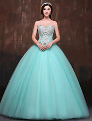 cheap -Ball Gown Sweetheart Floor Length Polyester Satin Tulle Formal Evening Dress with Beading Crystal Detailing by Huaxirenjiao