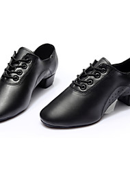 cheap -Men's Latin Shoes Leather Flat / Sneaker Lace-up Flat Heel Customizable Dance Shoes Black / Indoor / Practice / Professional