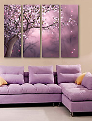 cheap -E-HOME® Stretched Canvas Art Full Flower Decorative Painting  Set of 4