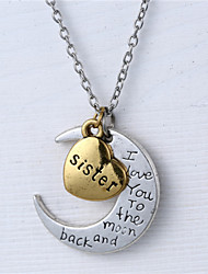 cheap -Alloy Heart and Moon Sister I Love You to the Moon and Back Necklace