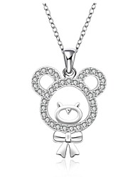 Cremation Jewelry 925 sterling silver Mini Bear with Zircon Pendant Necklace for Women