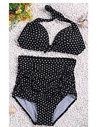 Bikinis Aux femmes Taille Haute/Pois Push-up/Soutien-gorge Rembourré/Soutien-gorge à Armatures Licou Nylon/Spandex