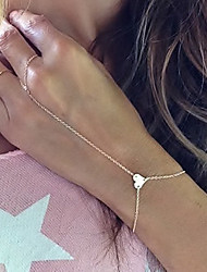 cheap -European Style Fashion Simple Elegant Heart Bracelet with Ring Christmas Gifts