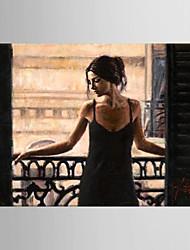 preiswerte -Handgemalte Menschen Horizontal,Modern Europäischer Stil Ein Panel Leinwand Hang-Ölgemälde For Haus Dekoration