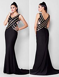 Mermaid / Trumpet V-neck Court Train Sequined Jersey Formal Evening Black Tie Gala Dress with Beading Sequins by TS Couture®