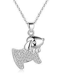 cheap -Sweet Style 925 Sterling Silver Jewelry Lovely Dog Pave Zircon Pendant Necklace for Women