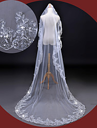 cheap -One-tier Lace Applique Edge Wedding Veil Cathedral Veils With Sequin Embroidery Lace Tulle