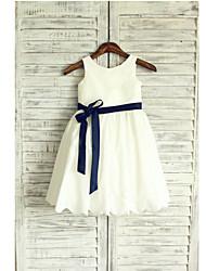 cheap -A-Line Tea Length Flower Girl Dress - Taffeta Sleeveless Jewel Neck with Sash / Ribbon Pleats by LAN TING BRIDE®