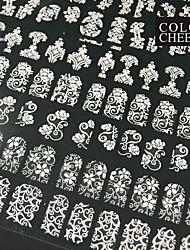 108PCS Mixed Flower Pattern Pink  Nail Art Stickers