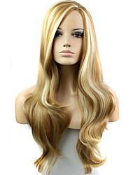economico -Donna Parrucche sintetiche Lungo F27-613 # Capelli con colpi di sole/Balayage Parte laterale parrucca nera Parrucca di Halloween Parrucca