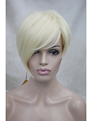 High Quality Heat Resistance Synthetic Fiber Asymmetrical Tilted Bangs Pale Blonde Short Wig