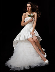 cheap -Ball Gown Strapless Asymmetrical Satin Tulle Wedding Dress with Appliques Sash / Ribbon Flower by LAN TING BRIDE®