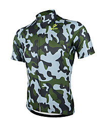 cheap -Arsuxeo Men's Short Sleeves Cycling Jersey Camouflage Bike Jersey, Quick Dry, Anatomic Design, Breathable
