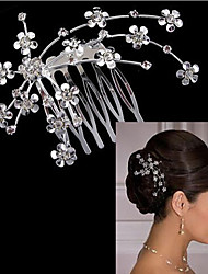 Lucky Doll Women's Elegant Silver Plated Cubic Zirconia Long Hair Stick