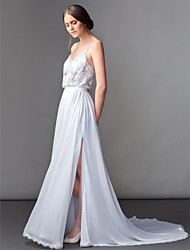 Sheath / Column V-neck Sweep / Brush Train Chiffon Wedding Dress with Beading Appliques Split by LAN TING BRIDE®