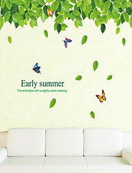 cheap -Wall Stickers Wall Decals Style Green Leaves And Pure And Fresh PVC Wall Stickers