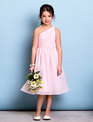 cheap -A-Line One Shoulder Knee Length Chiffon Junior Bridesmaid Dress with Draping Ruched Side Draping by LAN TING BRIDE®
