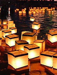 cheap -Square Wishing Lantern Floating Water Lanterns Lamp Light with Candle Square Paper Wishing Floating Water River