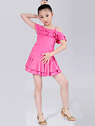 cheap -Latin Dance Outfits Training Performance Polyester Ruffles Short Sleeve Natural Top Skirt