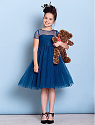 cheap -A-Line Jewel Neck Knee Length Tulle Junior Bridesmaid Dress with Ruched Criss Cross by LAN TING BRIDE®
